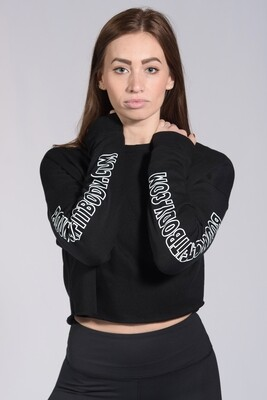 Cropped Sweatshirt - Black with white outline sleeve