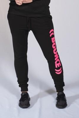 Tapered Jogging Bottoms - Black & Pink