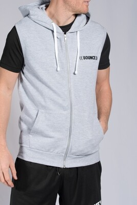 Sleeveless Hoodie, Unisex - Grey & Black