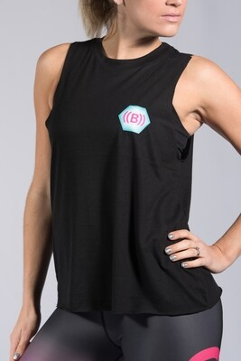 Vest, High Neck - Black with icon