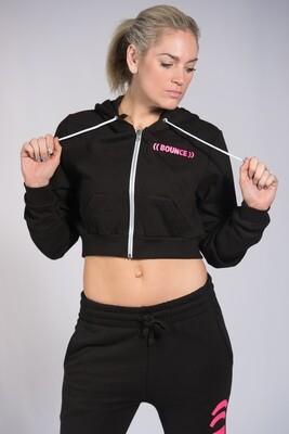 Zip Hoodie, Ladies Cropped - Black & Pink