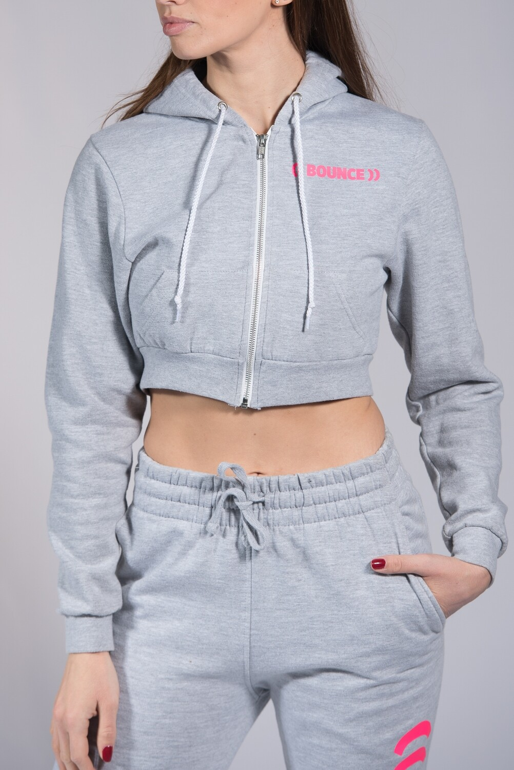 Zip Hoodie, Ladies Cropped - Grey & Pink