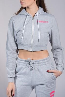Zip Hoodie, Ladies Cropped - Grey & Pink