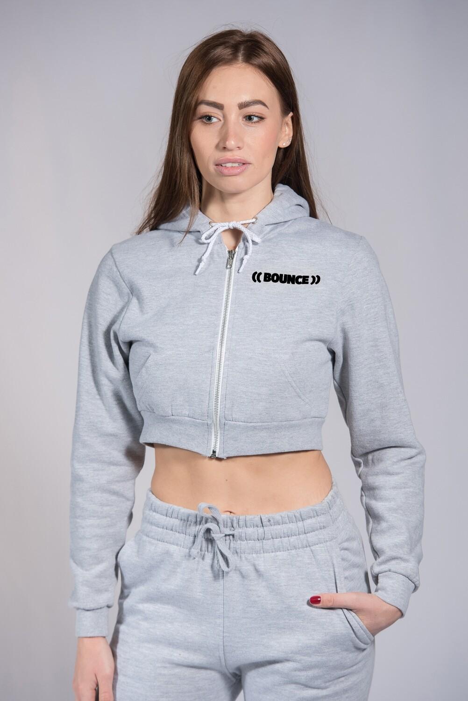 Zip Hoodie, Ladies Cropped - Grey & Black