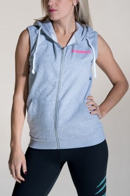 Sleeveless Hoodie, Unisex - Grey & Pink