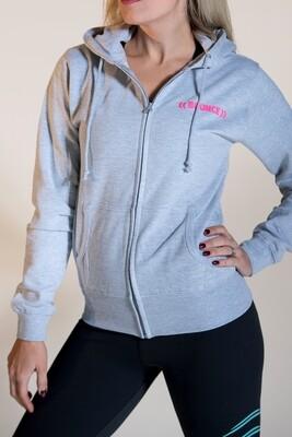 Zip Hoodie - Grey & Pink
