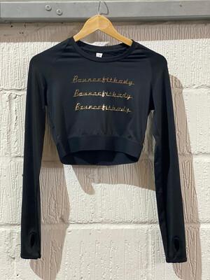Crop, Long Sleeve - Black & Gold