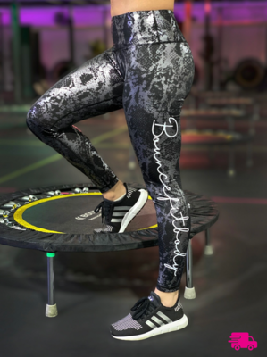 Leggings - Snakeskin: Silver