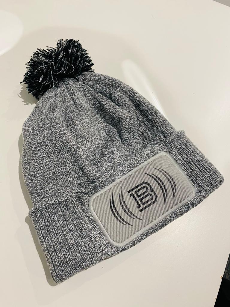 Snowstar Bobble Hat  - Grey & Black