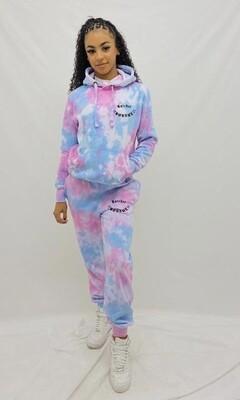 KIDS: Ratchet Hoodie Tracksuit - Pink Tie Dye