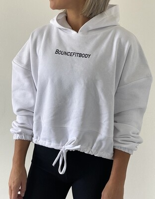 Oversized Cropped Hoodie - White