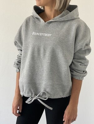 Oversized Cropped Hoodie - Grey