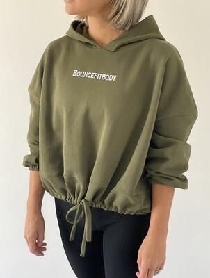 Oversized Cropped Hoodie - Khaki