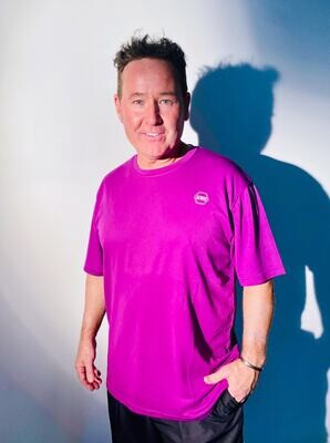 ((B))asics: T-Shirt, Unisex - Purple & White