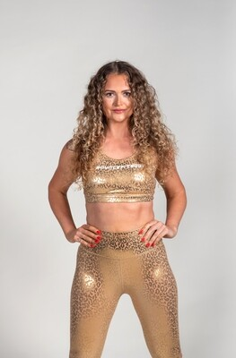 Crop Top - Gold Cheetah