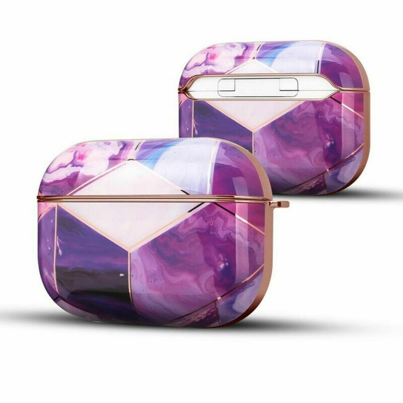 Apple Airpods Pro Electroplated Case Cover TPU Design with Key Chain Option, Wireless Charging Support (Electroplated Purple Marble | Pro)