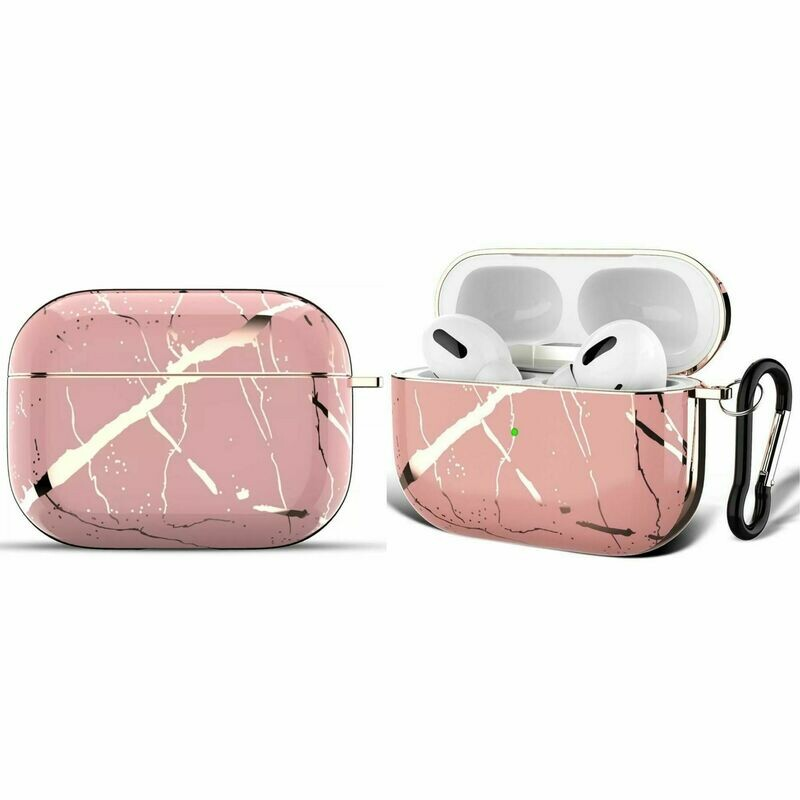 Apple Airpods Pro Electroplated Case Cover TPU Design with Key Chain Option, Wireless Charging Support (Electroplated Pink Marble | Pro)
