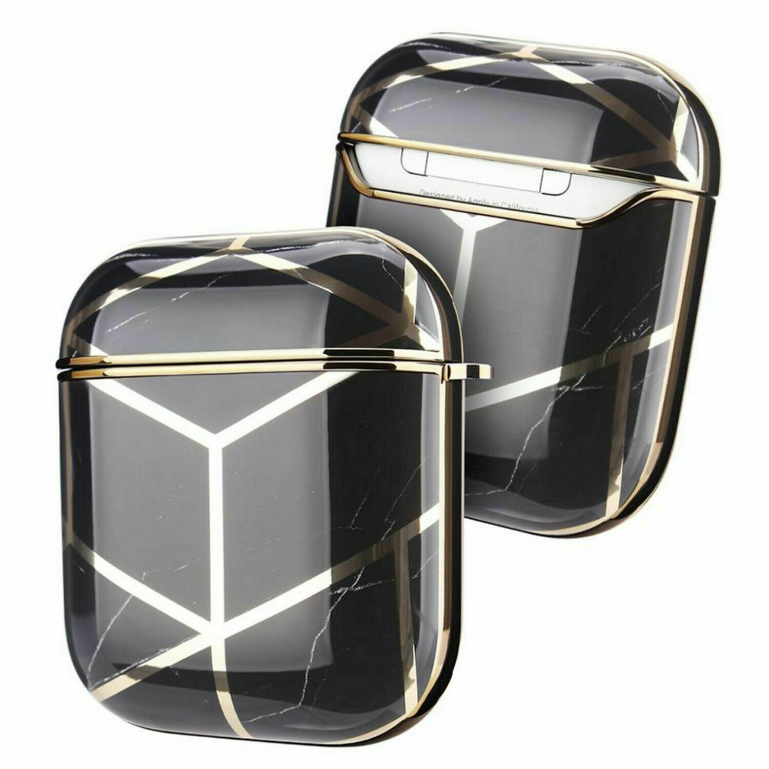Case Cover for Airpods 1 2 Electroplated Marble | Black Gold
