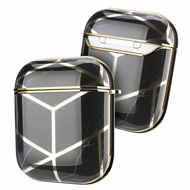 Apple Airpods 1 2 Electroplated Case Cover TPU Design with Key Chain Option, Wireless Charging Support (Electroplated Black Gold | 1/2)