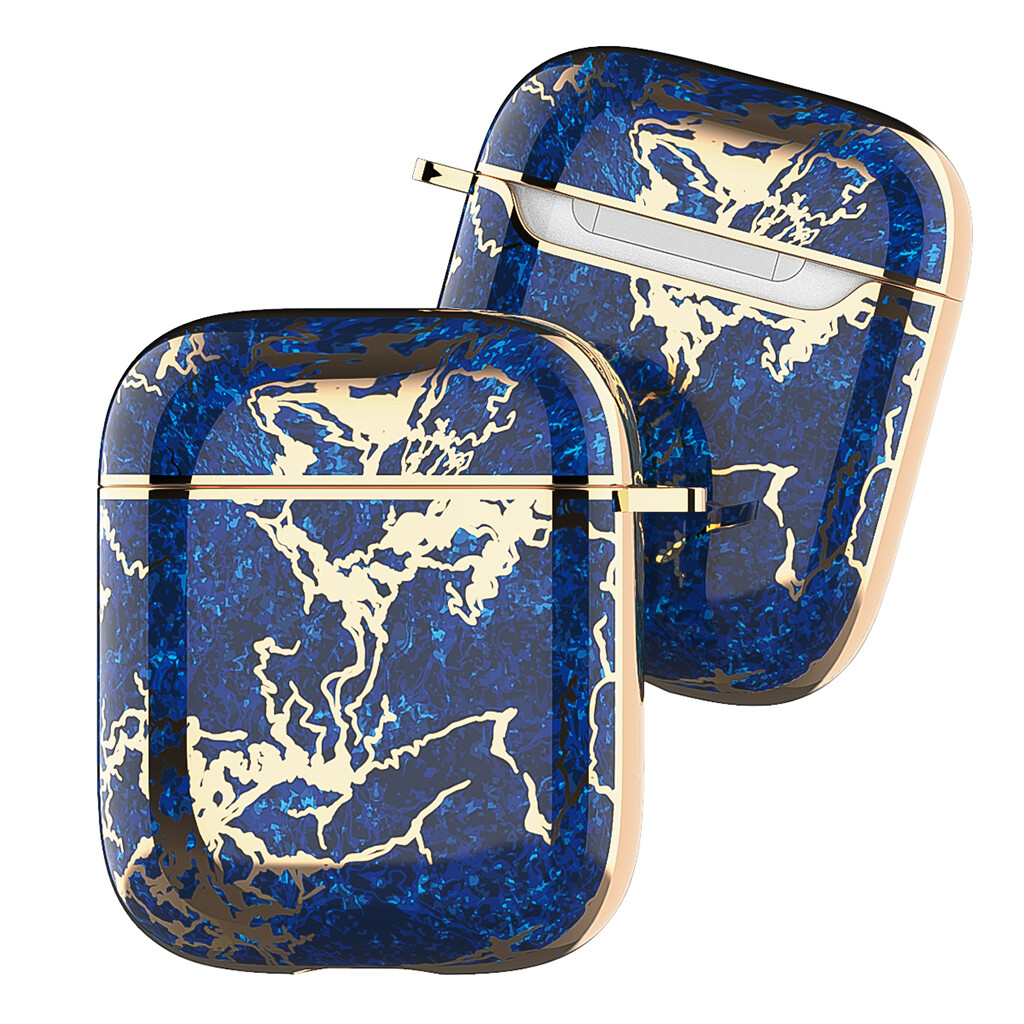 Apple Airpods 1 2 Electroplated Case Cover TPU Design with Key Chain Option, Wireless Charging Support (Electroplated Dark Blue Gold Marble | 1/2)