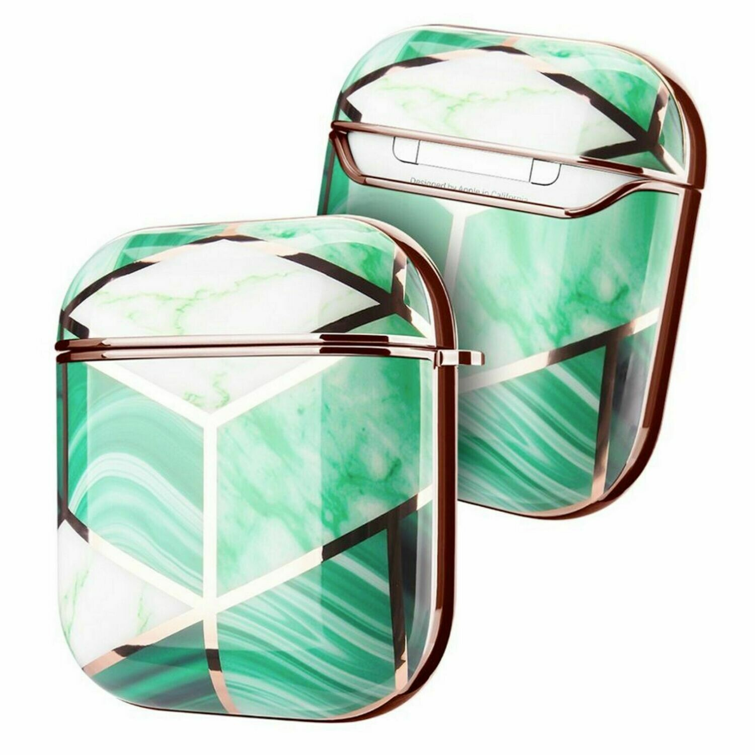 Apple Airpods 1 2 Electroplated Case Cover TPU Design with Key Chain Option, Wireless Charging Support (Electroplated Green Marble | 1/2)