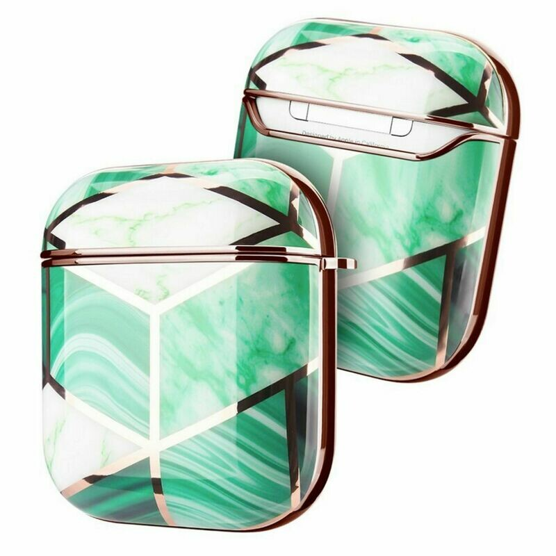 Case Cover for Airpods 1 2 Electroplated Marble   Mint Green