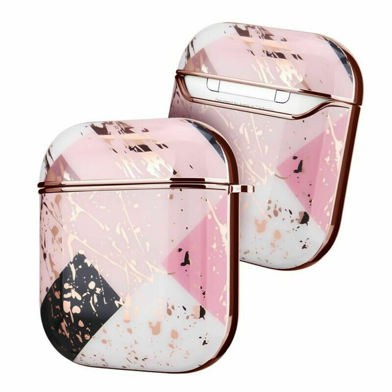 Apple Airpods 1 2 Electroplated Case Cover TPU Design with Key Chain Option, Wireless Charging Support (Electroplated Gold Pink | 1/2)