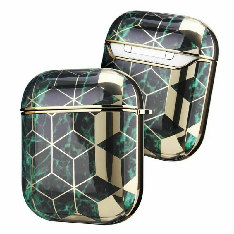 Apple Airpods 1 2 Electroplated Case Cover TPU Design with Key Chain Option, Wireless Charging Support (Electroplated Gold Green | 1/2)