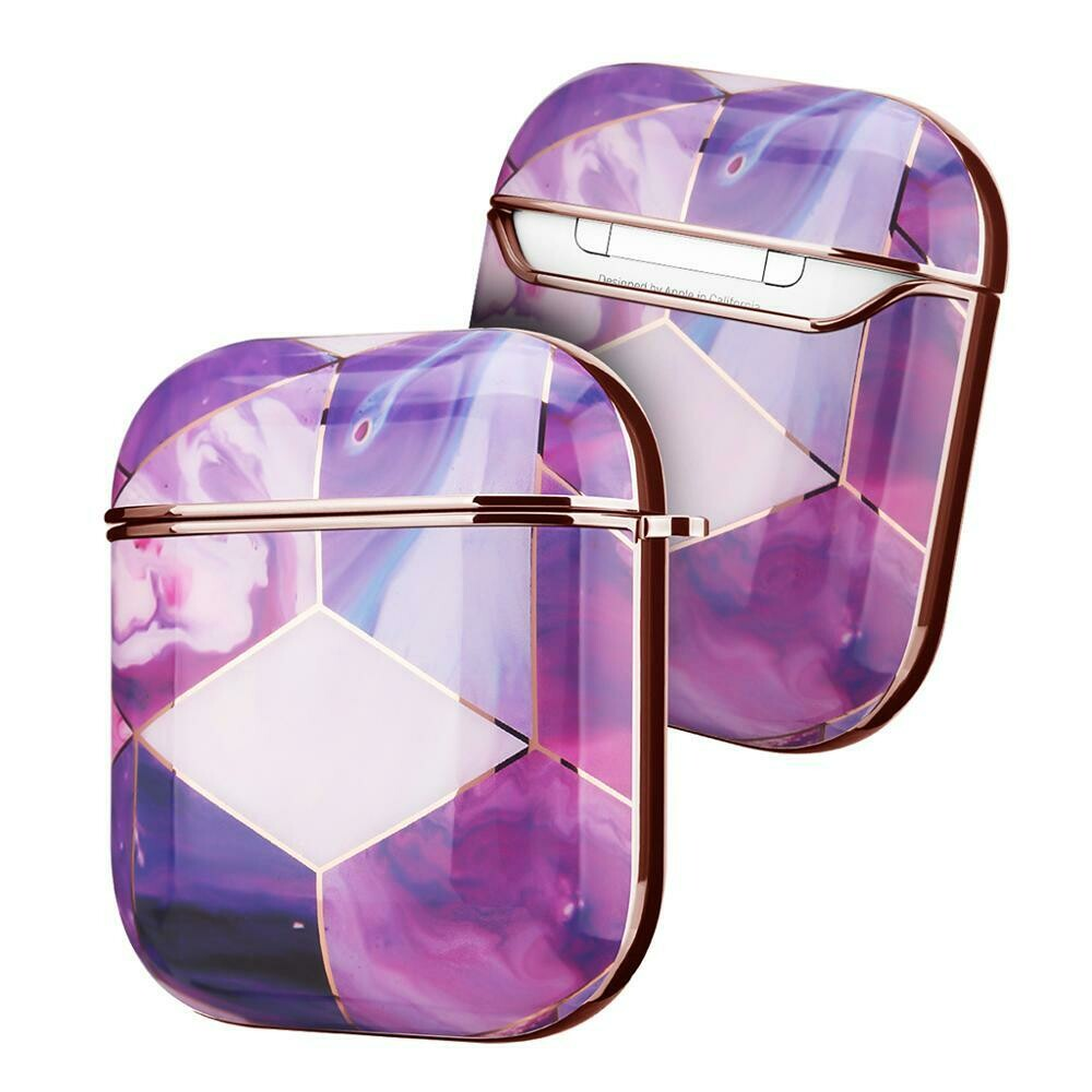 Case Cover for Airpods 1 2 Electroplated Marble | Purple Gold
