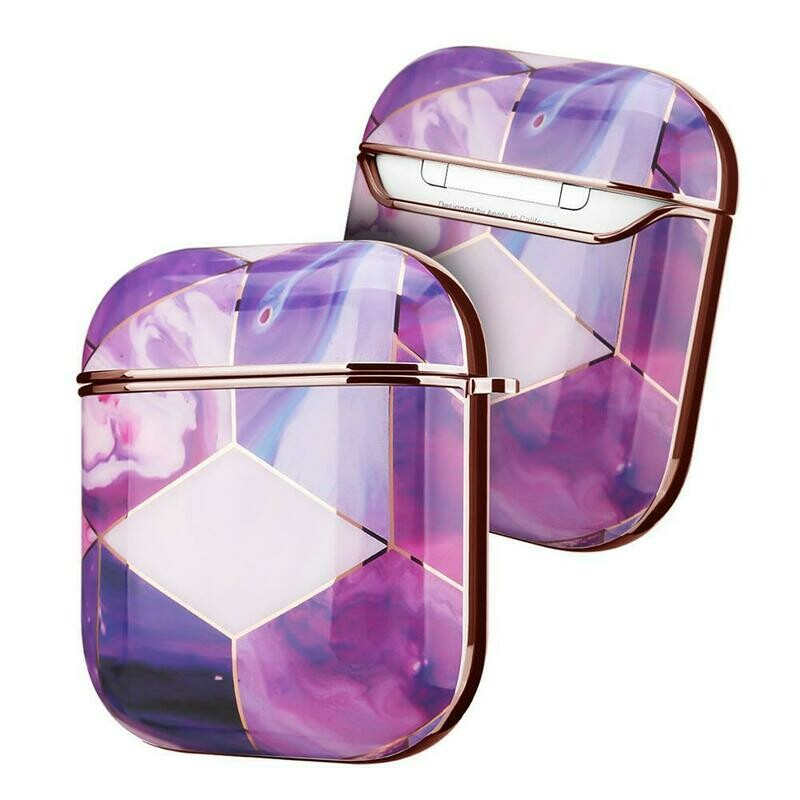 Case Cover for Airpods 1 2 Electroplated Marble   Purple Gold