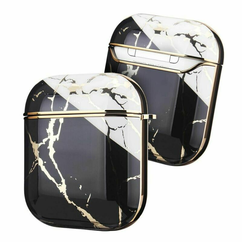 Case Cover for Airpods 1 2 Electroplated Marble   Black White