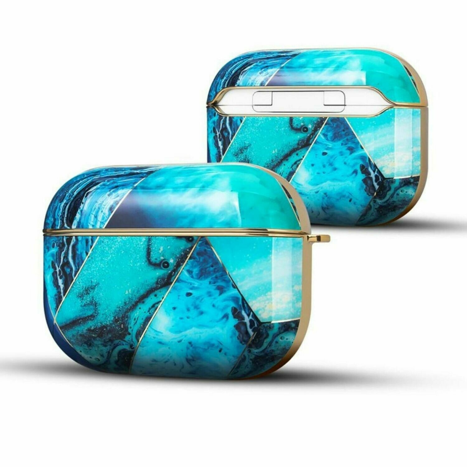 Apple Airpods Pro Electroplated Case Cover TPU Design with Key Chain Option, Wireless Charging Support (Electroplated Ocean Blue | Pro)