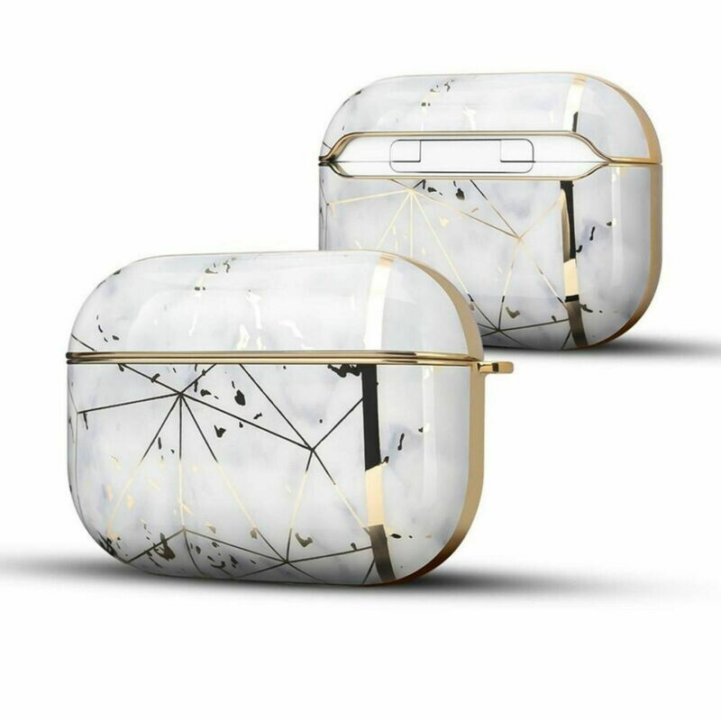 Case Cover for Airpods Pro Electroplated Marble   White Gold