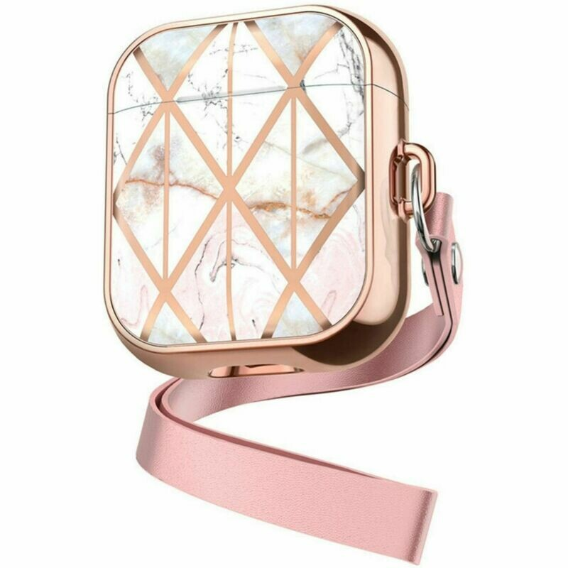 Apple Airpods 1 2 Marble Case Cover Shell Design with Key Chain Option, Wireless Charging Support (White Marble/Rose Gold Lanyard | 1/2)