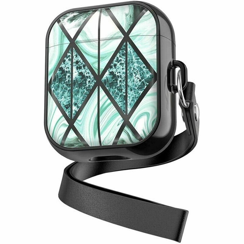 Case Cover for Airpods 1 2 with Lanyard   Black Green Marble