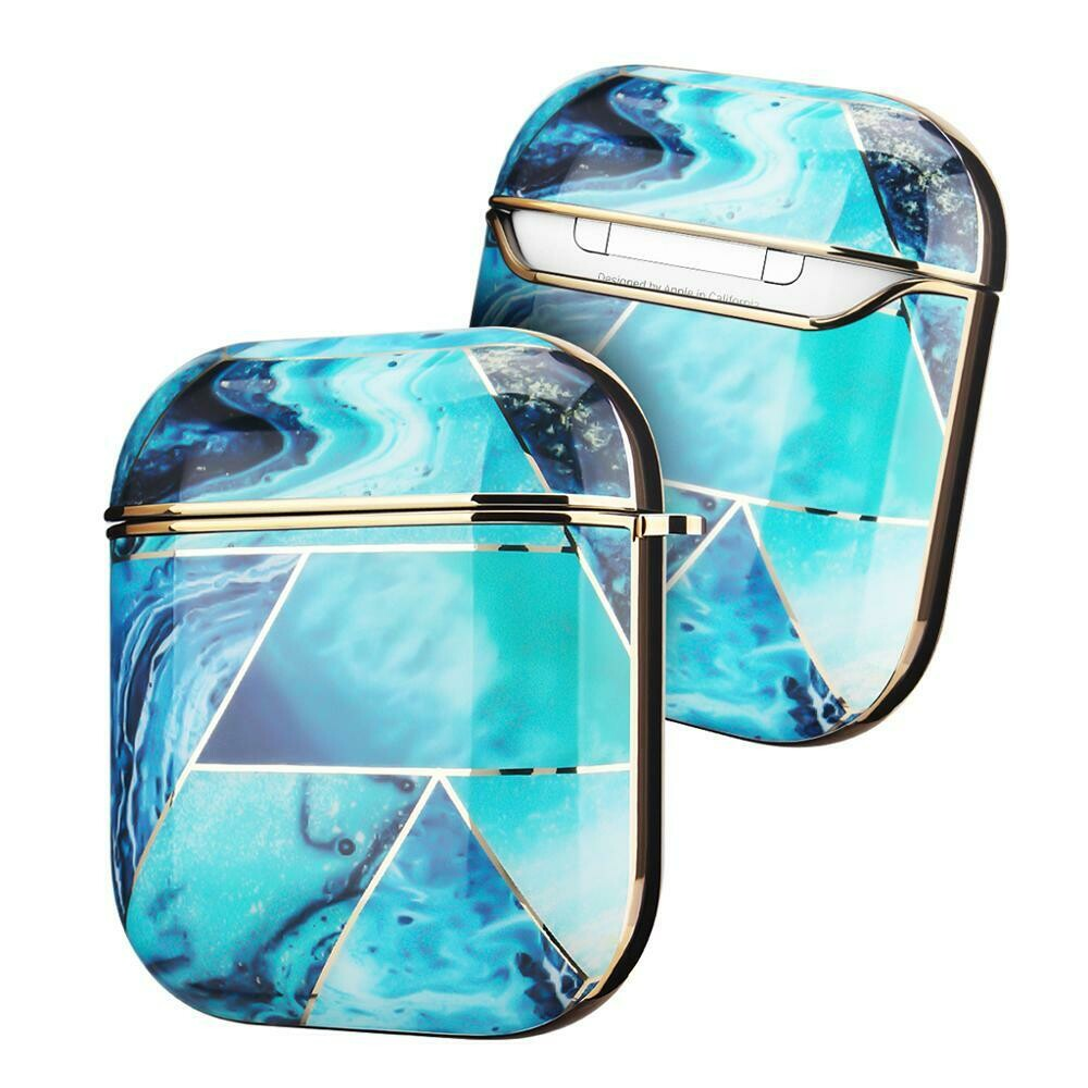 Case Cover for Airpods 1 2 Electroplated Marble | Ocean Blue