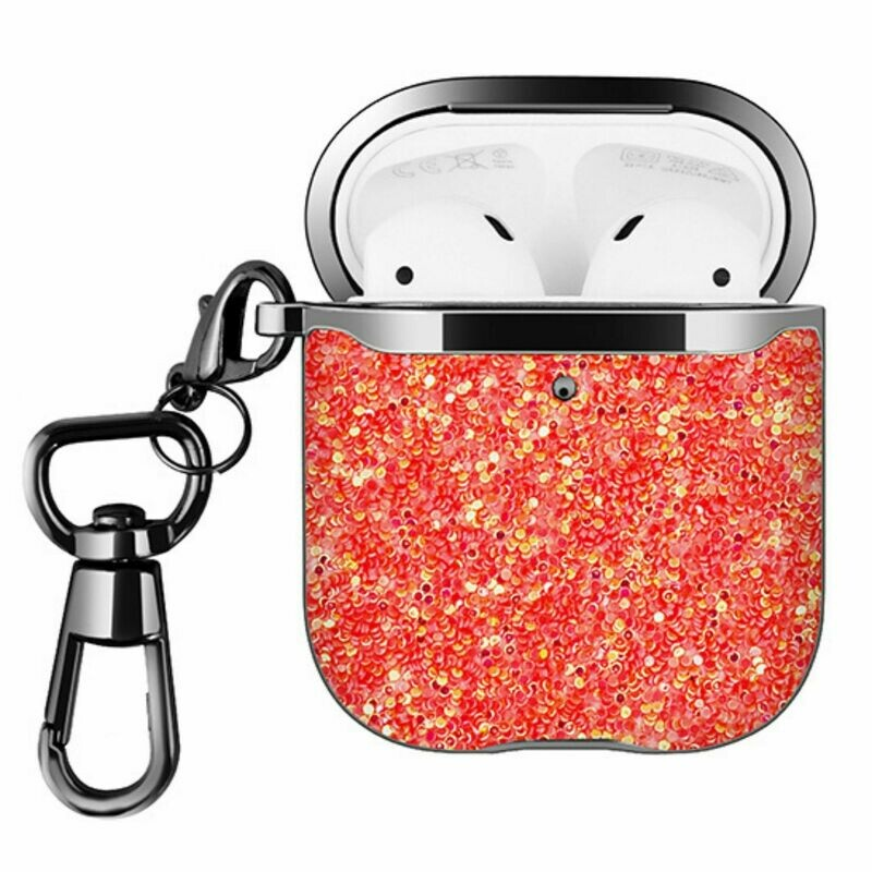 For Apple Airpods 1 2 Hard Case Cover Superior Quality Rhinestone Design TPU Protective | Shock Proof (Red Dazzle)