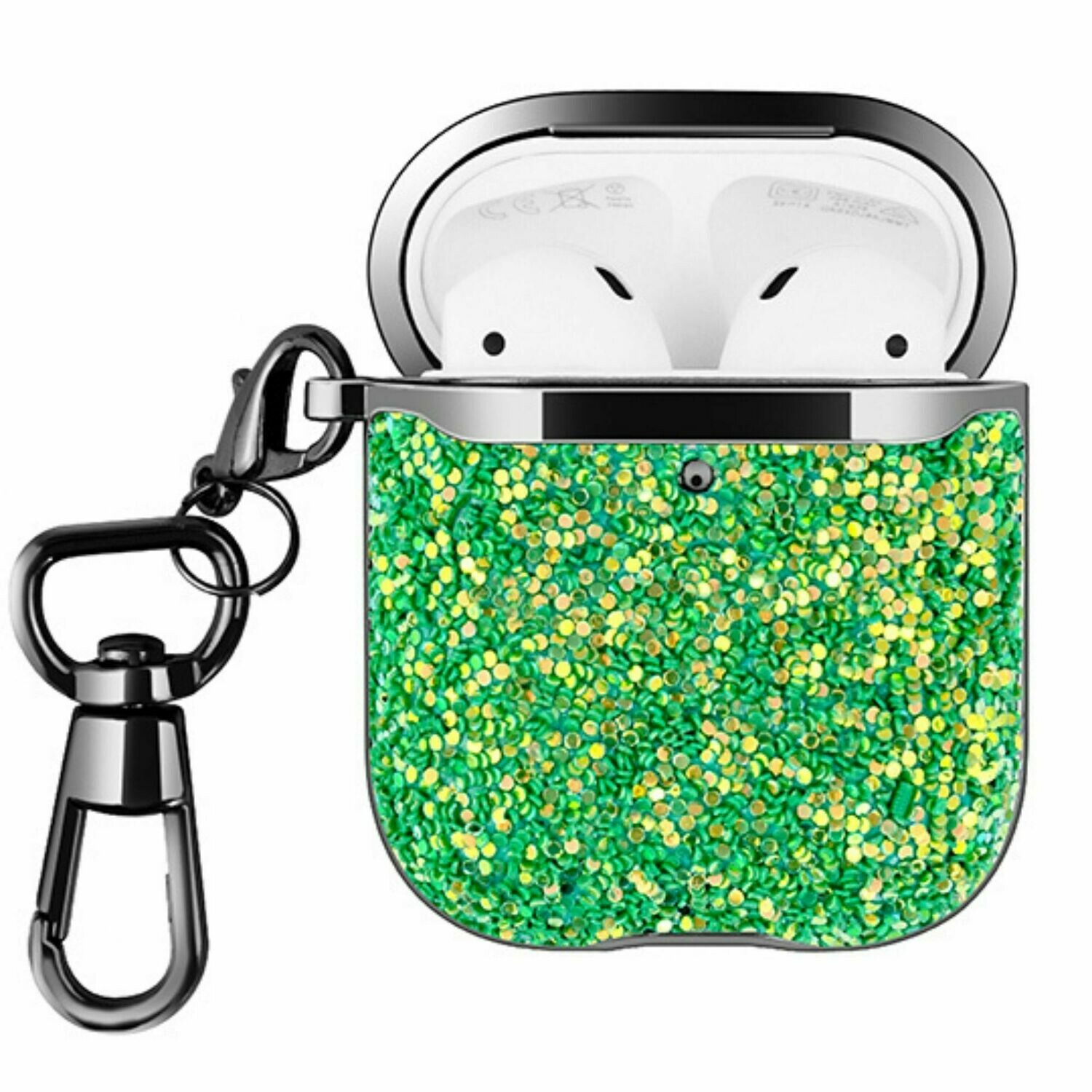 For Apple Airpods 1 2 Hard Case Cover Superior Quality Rhinestone Design TPU Protective | Shock Proof (Green Dazzle)