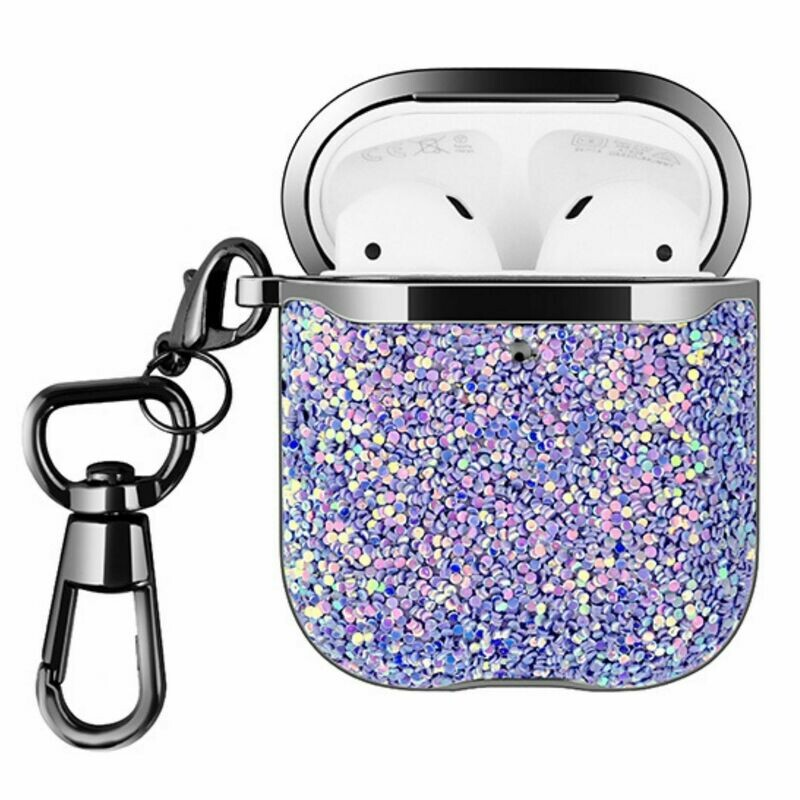 Case Cover for Airpods 1 2 Rhinestone with Keychain Purple Dazzle