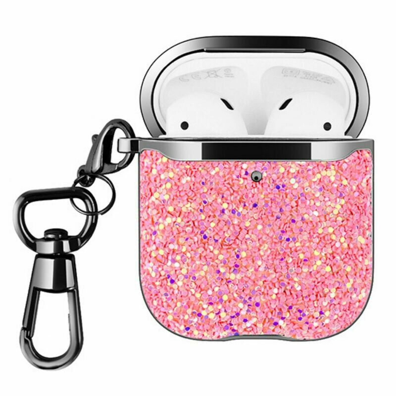 For Apple Airpods 1 2 Hard Case Cover Superior Quality Rhinestone Design TPU Protective | Shock Proof (Pink Dazzle)