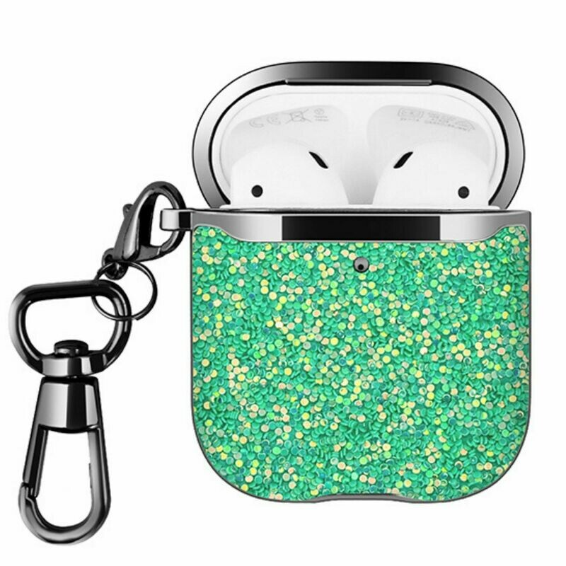 For Apple Airpods 1 2 Hard Case Cover Superior Quality Rhinestone Design TPU Protective | Shock Proof (Mint Green Dazzle)