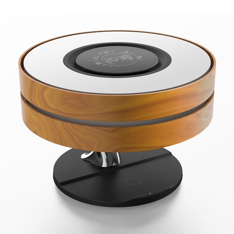 Bedside Table Lamp Shade Modern Bedroom Desk Night Dim Light w/ Bluetooth Speaker Fast Qi Wireless Charger Touch Control Dimmable LED Lights Smart Corner Lampshade Dawn Maple Wood