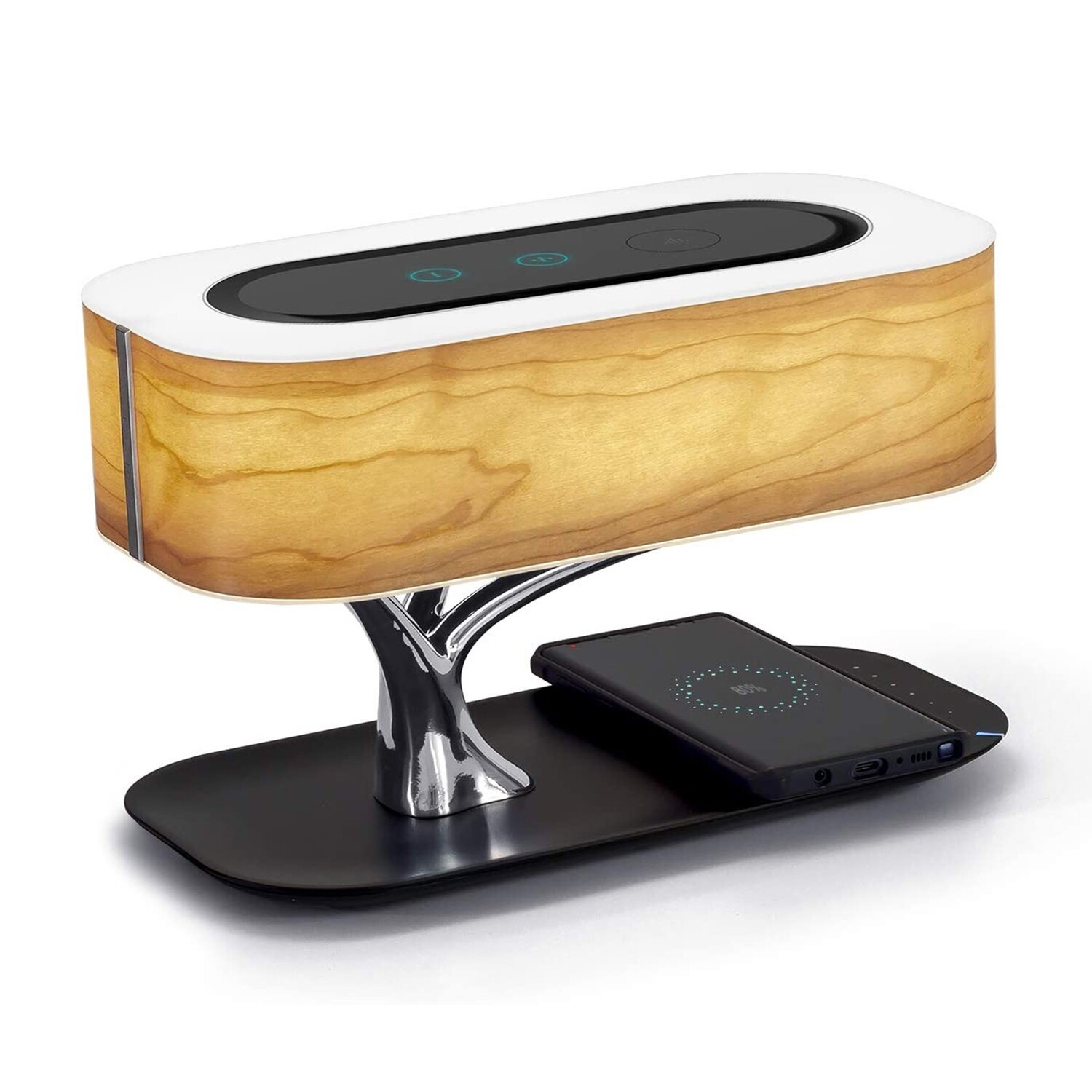 WELL GUIDED® Wood Bedside Table Lamp Shade Qi Charger & Speaker