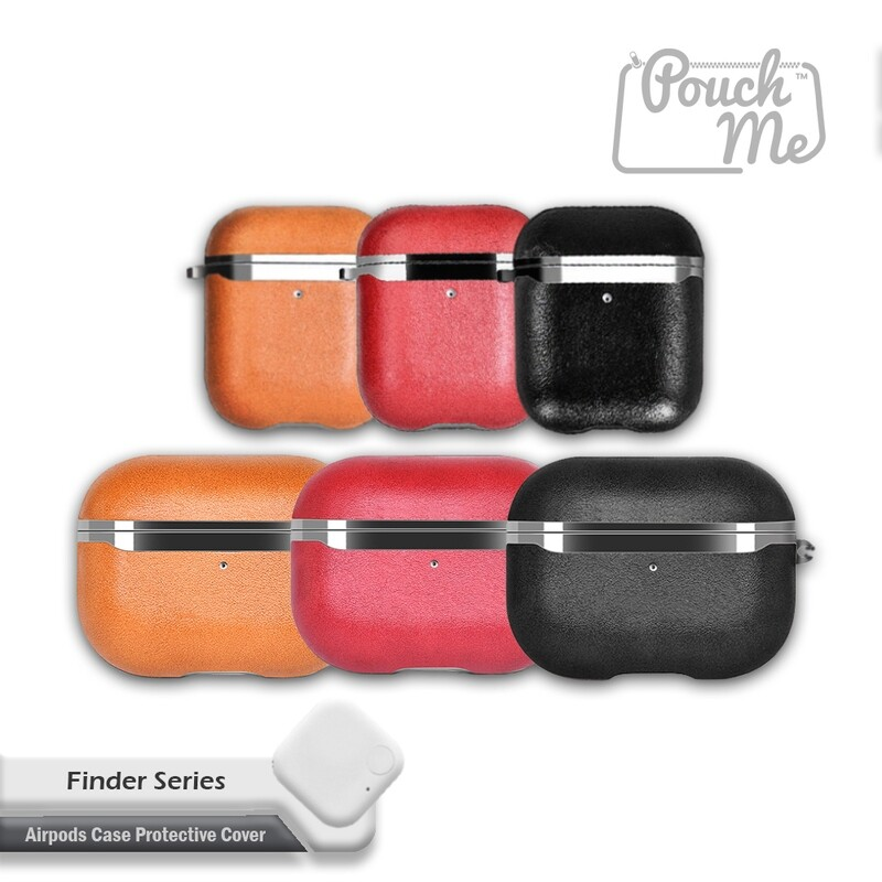 POUCH ME AirPod Pro 1 2 Case Cover Faux Leather Design with Bluetooth Tracking Tile Anti-Lost Keychain Wireless Charging Support Shockproof Protective for Apple Airpods Cases Gen 2 1 Pro