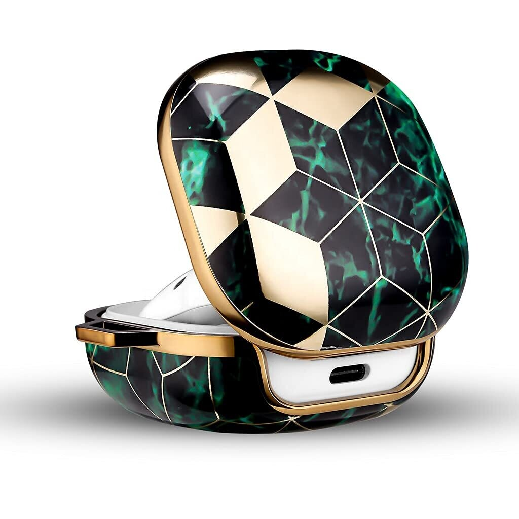 Pouch Me® Galaxy Buds Live & Pro Case Cover Marble Emerald Green