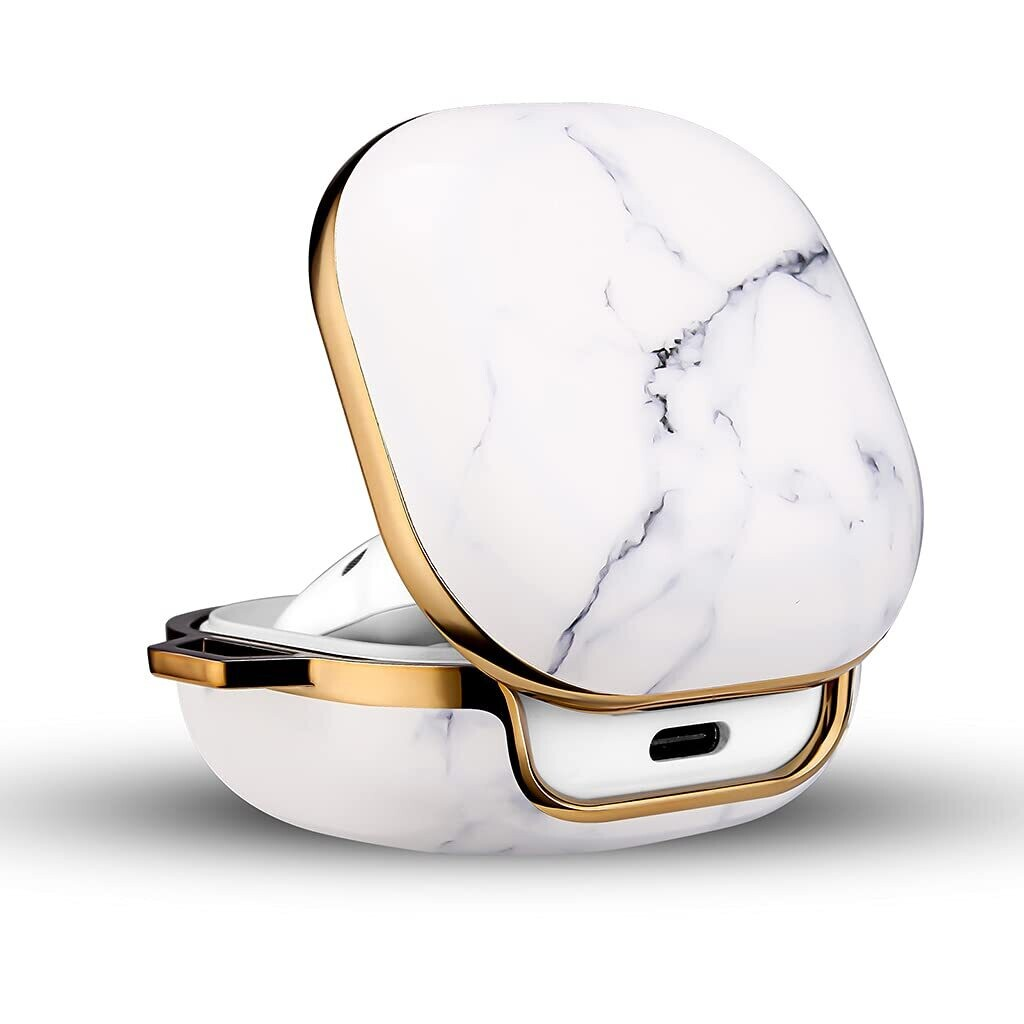 Pouch Me® Galaxy Buds Live & Pro Case Cover Marble | White Gold