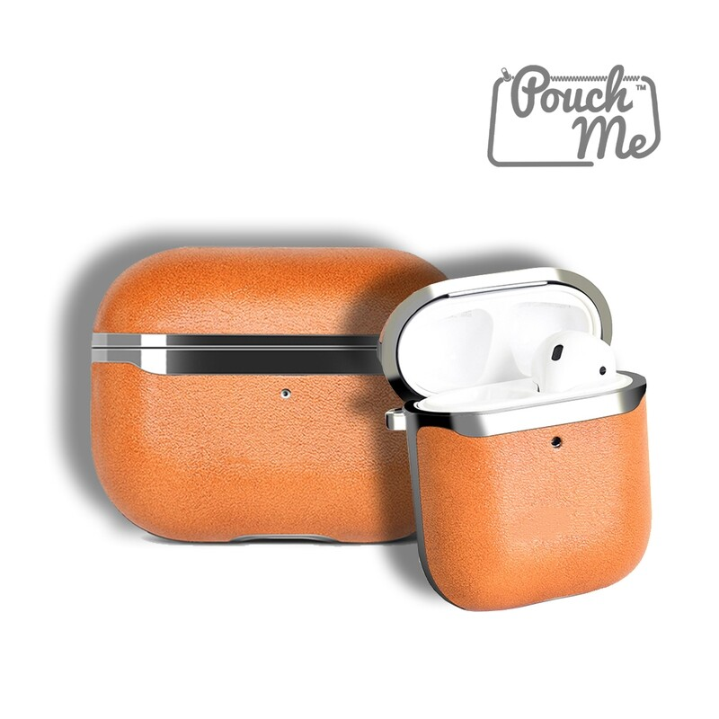 Pouch Me® Leather Case Cover for Airpods with Anti Lost Keychain