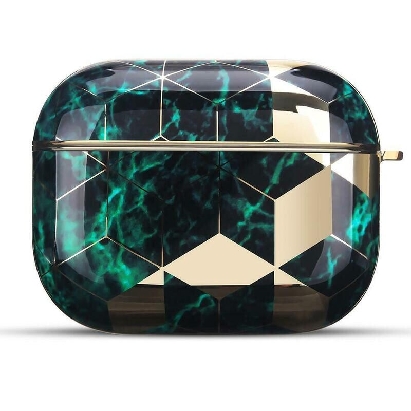 Case Cover for Airpods Pro Electroplated Marble   Emerald Green