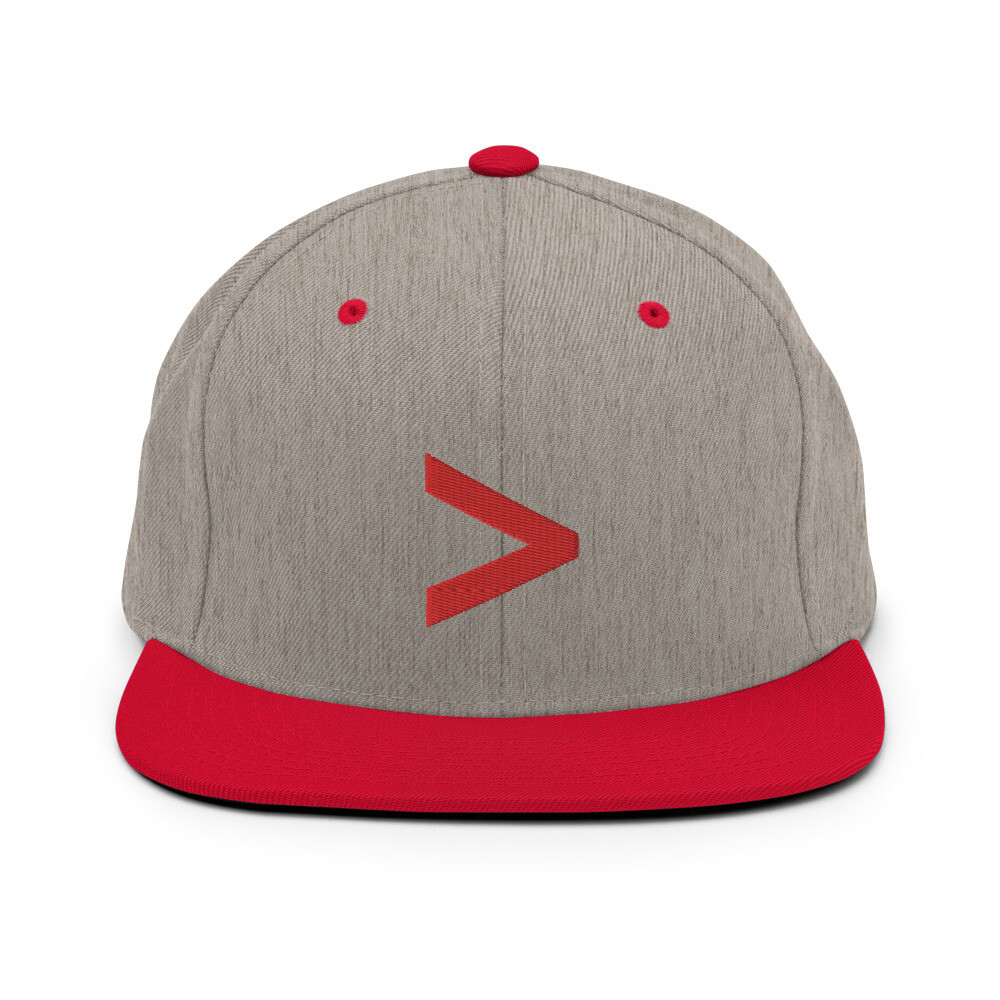 MORE LOGO Snapback Hat (Heather Grey/Red)