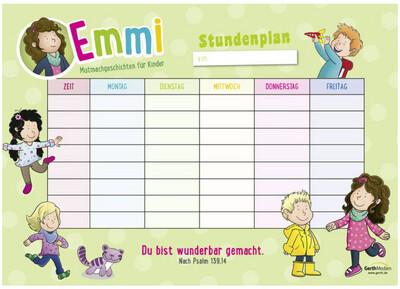 Stundenplan für die Grundschule von Emmi und ihre Freunde